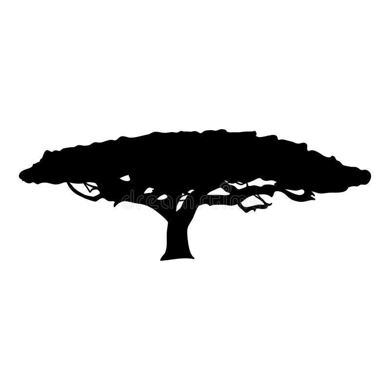 De flora van de het pictogramboom van de silhouetacacia stock illustratie