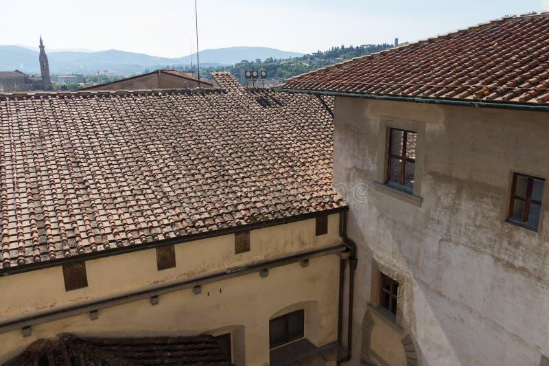 De Florentijnse bouw Mening vanaf de bovenkant van Palazzo Vecchio, Florence, Toscanië, Italië stock fotografie