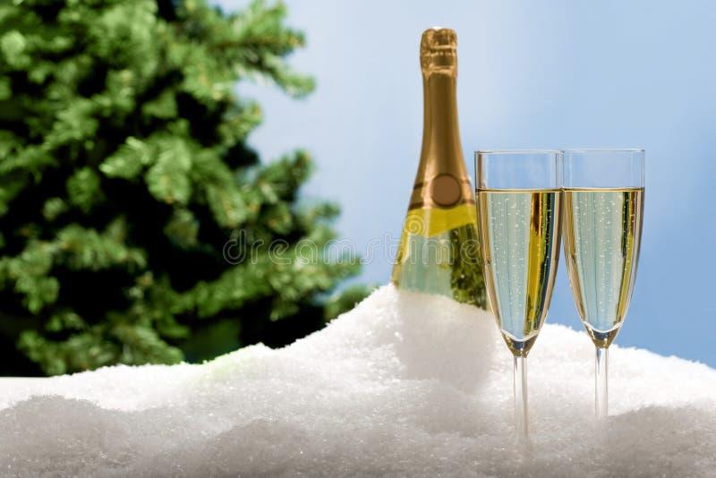 De fluiten van Champagne in sneeuw stock fotografie