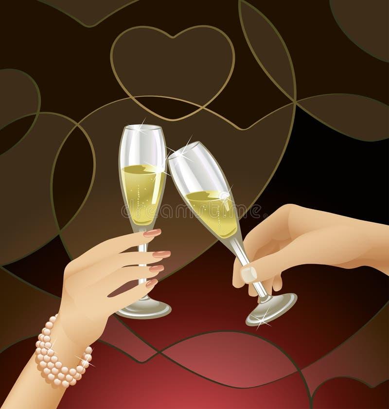 De Fluiten van Champagne van Clinking stock illustratie