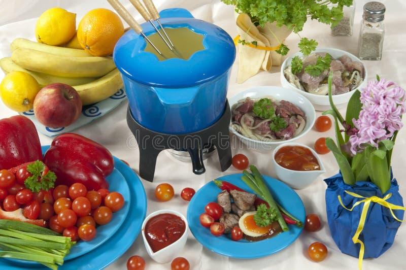 De fondue van het vlees royalty-vrije stock afbeeldingen