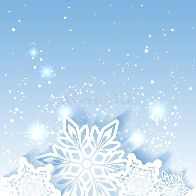 De fonkelende Achtergrond van de Kerstmissneeuwvlok vector illustratie