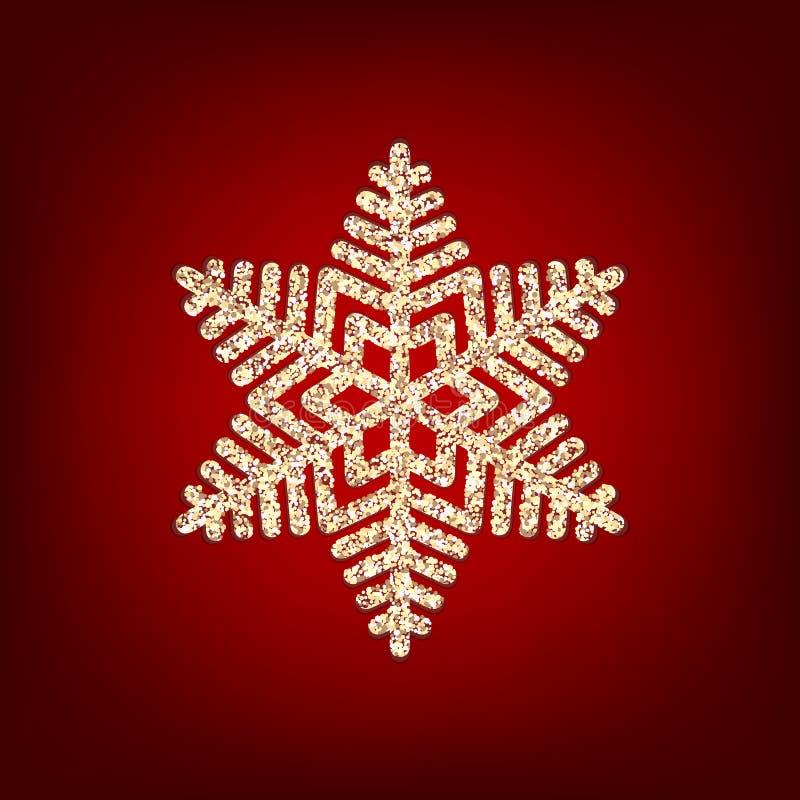 De fonkelende gouden sneeuwvlok met schittert textuur voor Kerstmis, de kaart van de Nieuwjaargroet Vector zwarte achtergrond met stock illustratie