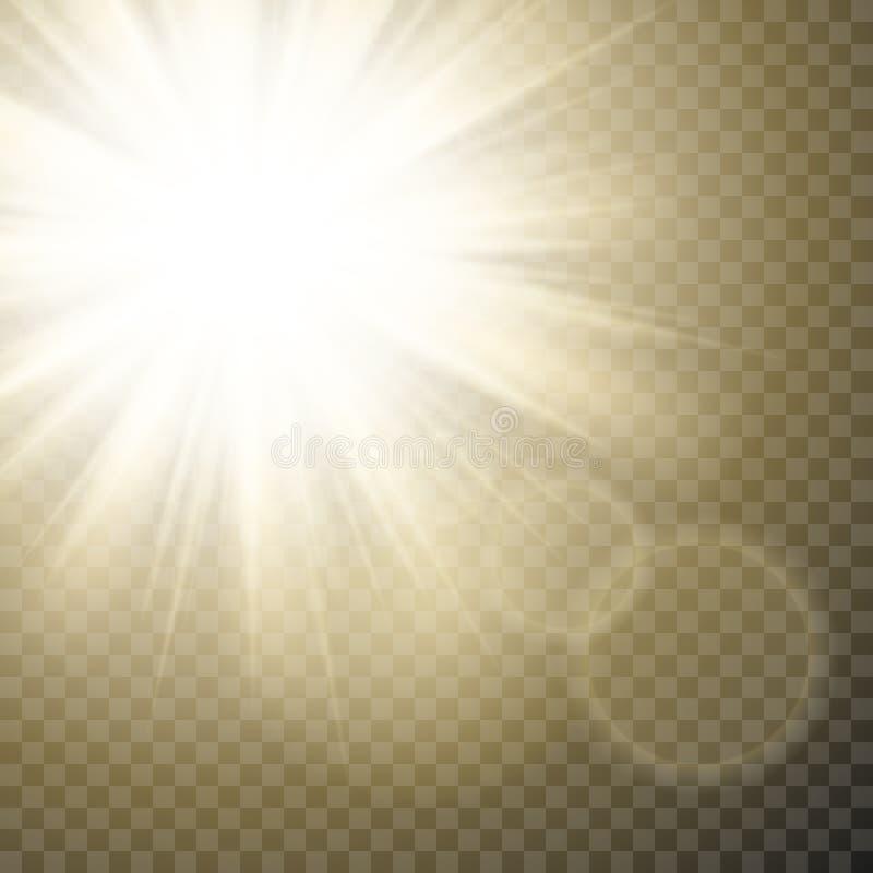 De fonkelende zonstralen met hete vlek en de gloed met zongloed voeren op transparante achtergrond uit royalty-vrije illustratie