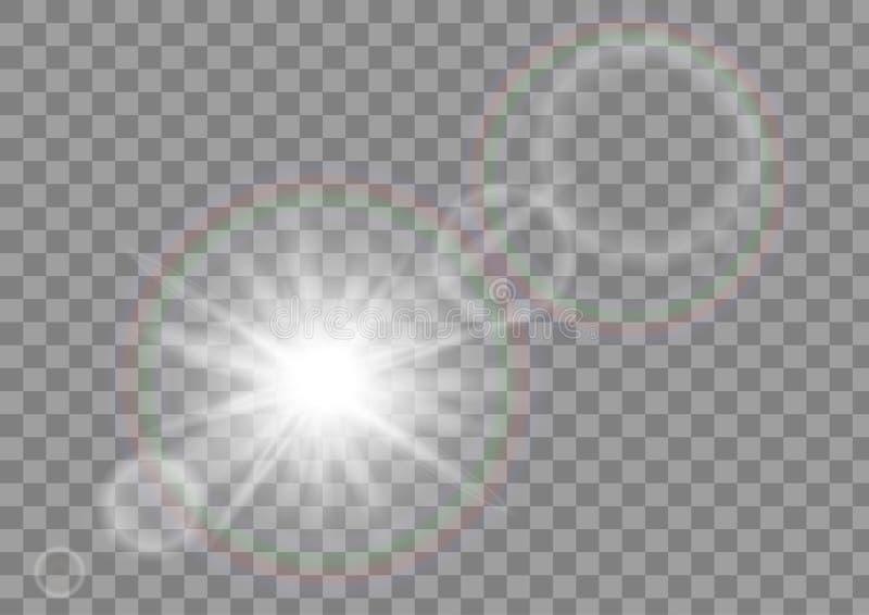 De fonkeling van de zonlichtzon met het effect van de lensgloed op transparante vectorachtergrond stock foto's