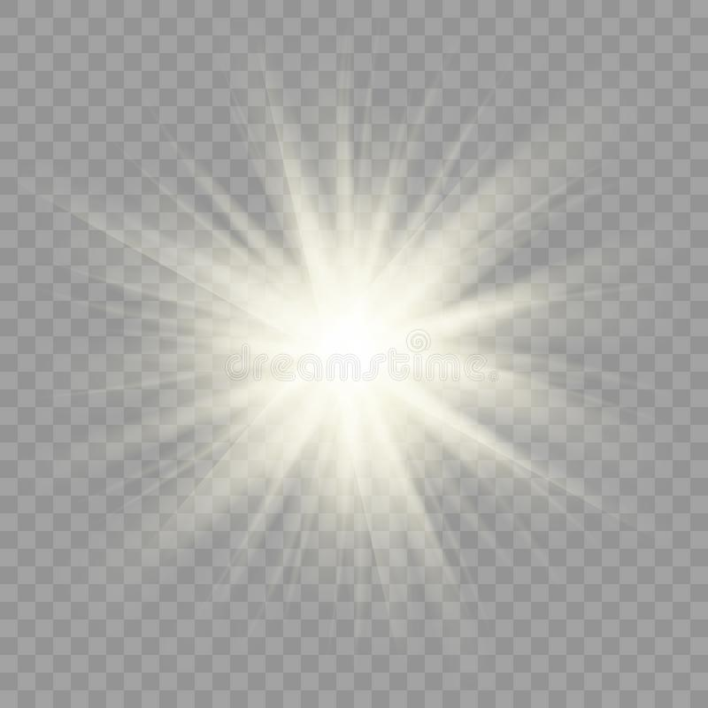De Fonkeling van zonstralen op Transparante Achtergrond royalty-vrije illustratie
