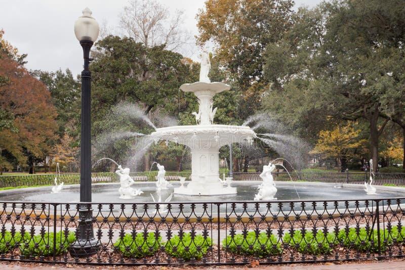 De Fontein historische Savannah Georgia GA van het Forsythpark stock afbeeldingen