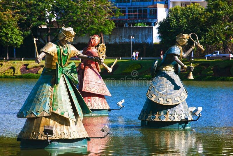 De fontein Salvador van Orishas van Bahia royalty-vrije stock fotografie
