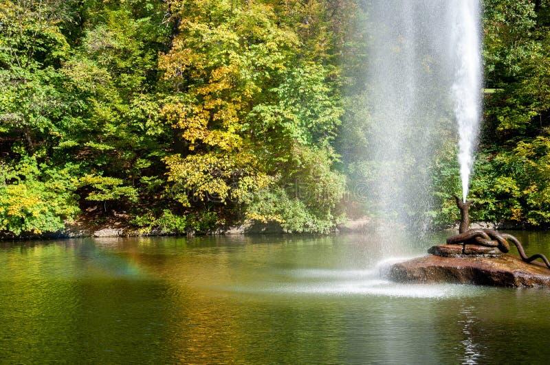 De fontein van de bronsslang op rots in centrum van meer stock fotografie