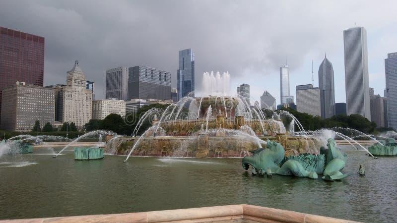 De Fontein van Chicago Buckingham Beroemde aantrekkelijkheden stock afbeeldingen