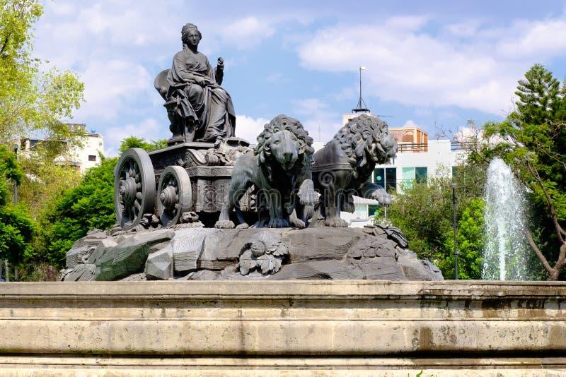 De fontein van Cibeles in Colonia Rome in Mexico-City stock fotografie