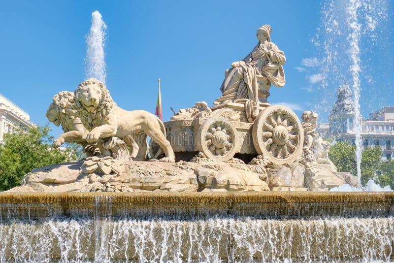 De Fontein van Cibeles, een symbool van Madrid stock afbeeldingen