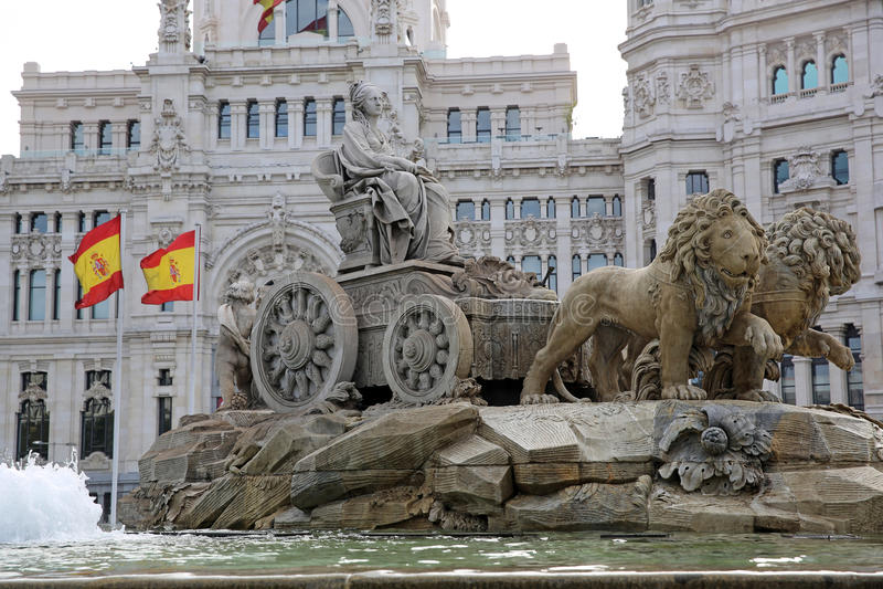 De Fontein van Cibeles. Madrid stock foto