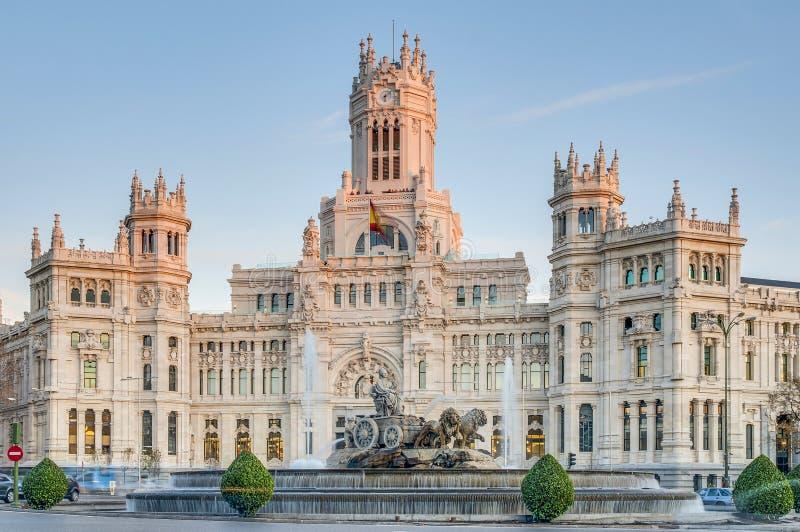 De Fontein van Cibeles in Madrid, Spanje stock foto