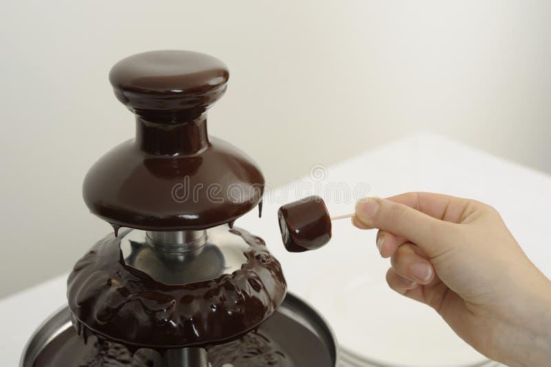 De fontein van de chocolade bij een buffet stock foto