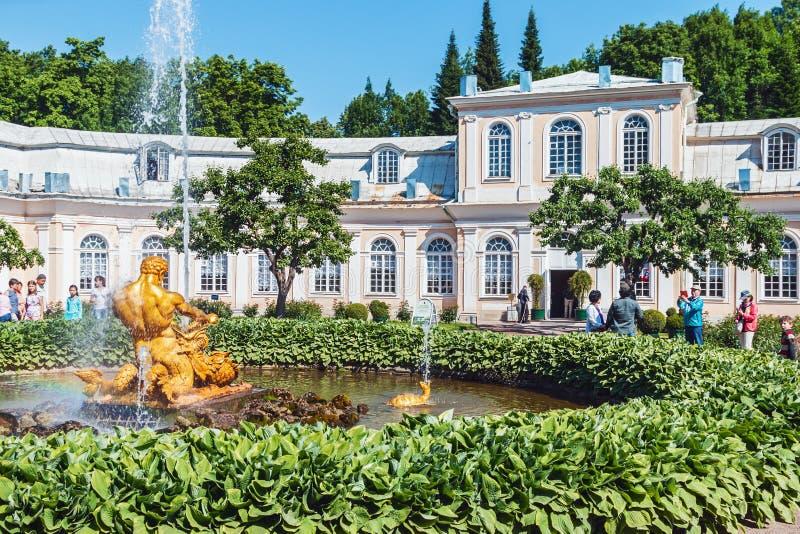 De fontein van de toeristenserre in Peterhof stock foto