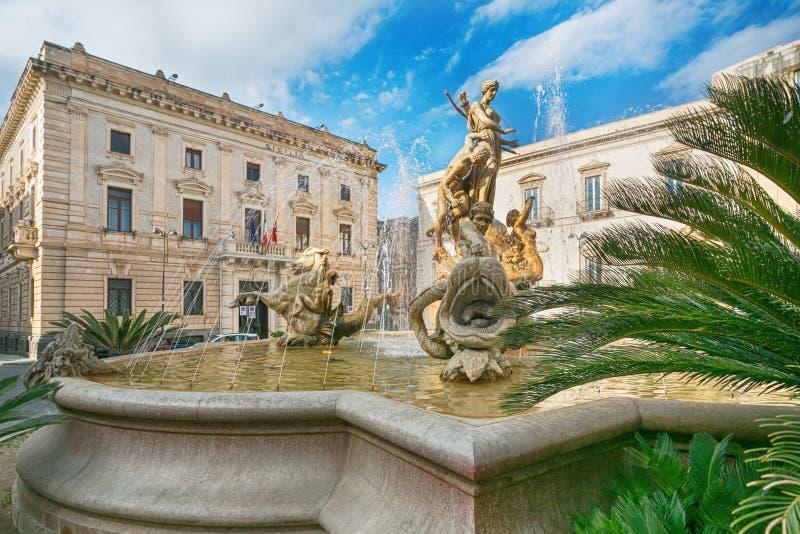 De fontein van Diana in Syracuse stock afbeelding
