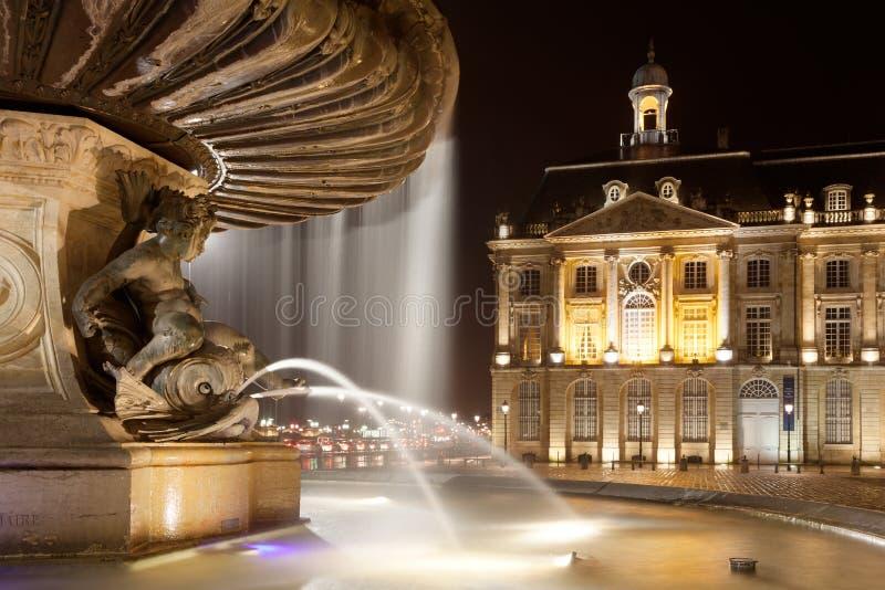 De fontein van drie vereert, Bordeaux stock fotografie