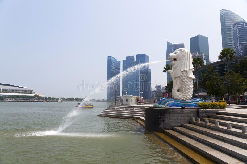 De fontein van Merlion in Singapore royalty-vrije stock foto's