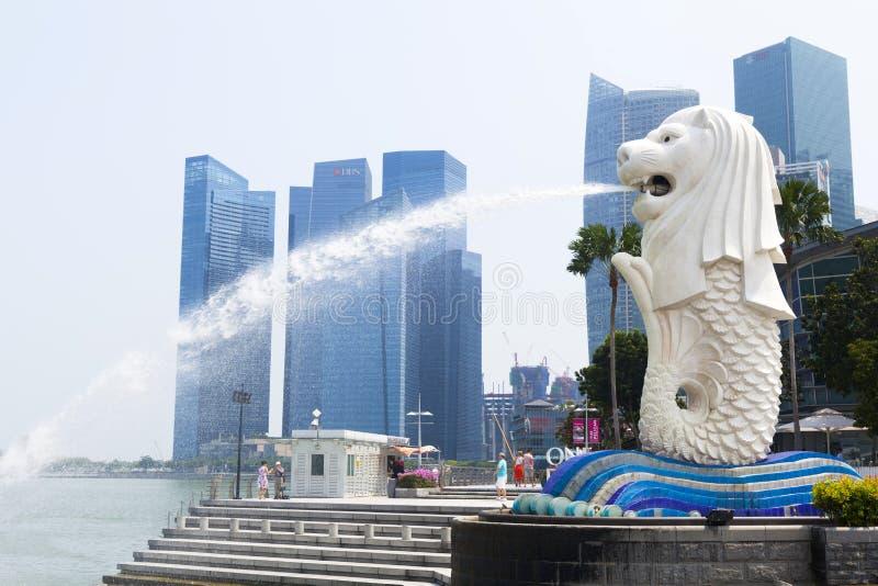 De fontein van Merlion in Singapore stock fotografie