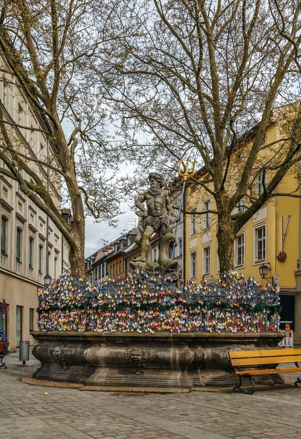 De Fontein van Neptunus, Bamberg, Duitsland stock fotografie