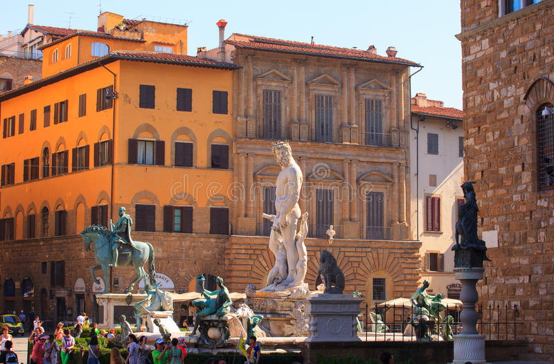 De fontein van Neptunus, Florence stock foto's