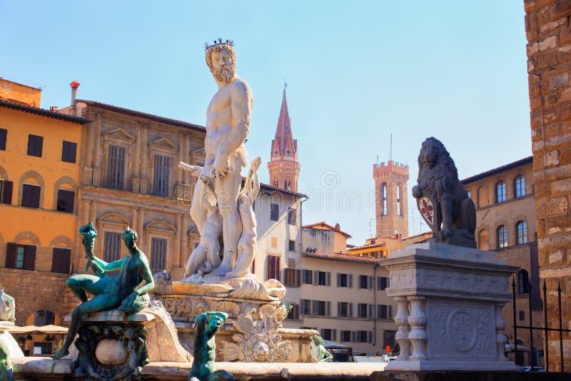 De fontein van Neptunus, Florence stock afbeeldingen