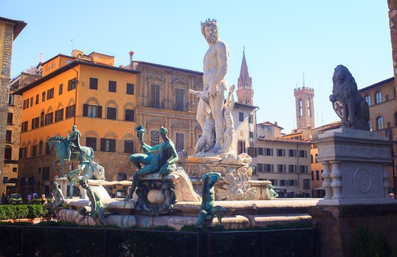 De fontein van Neptunus, Florence stock afbeelding