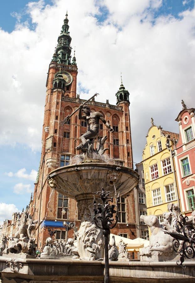 De Fontein Van Neptunus In Gdansk, Polen Stock Fotografie
