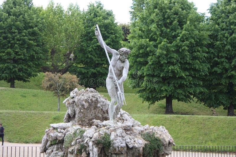 De fontein van Neptunus in het centrum van de Boboli-Tuinen De Beeldhouwer, Stoldo Lorenzi Florence stock foto