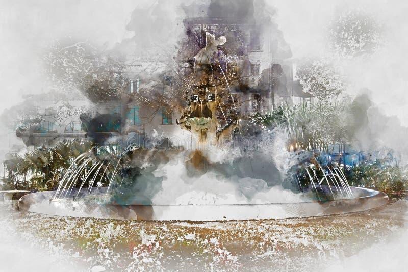 De fontein van pleingabriel miro stock illustratie