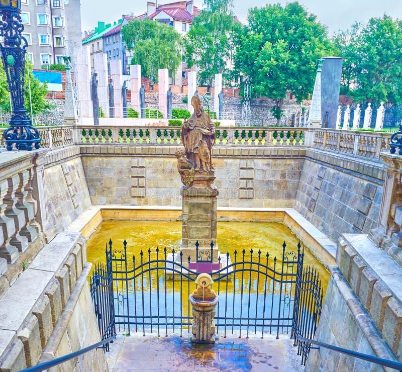 De fontein van St Stanislaus met de Wijwaterlente, Krakau, Polen stock foto's