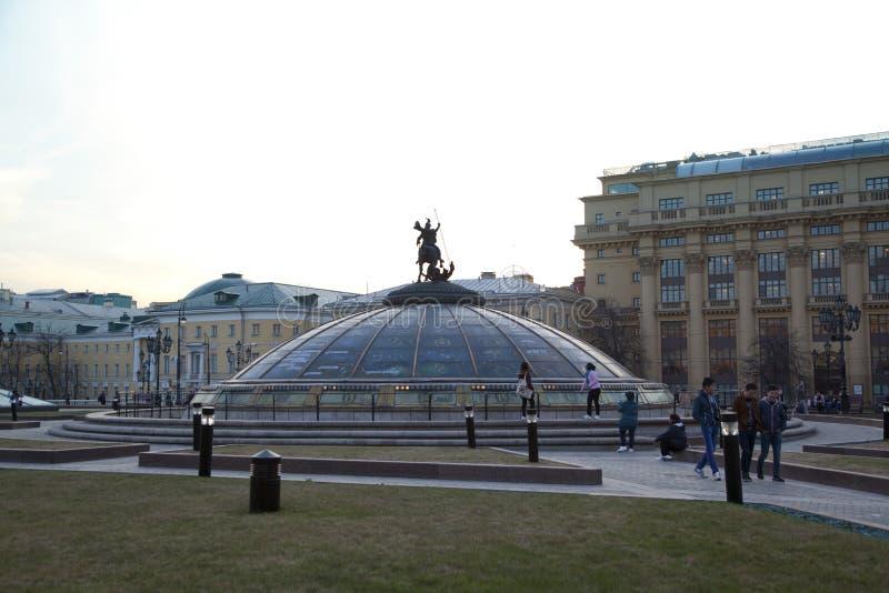 De Fontein van de wereldklok op Moskou het Kremlin stock foto