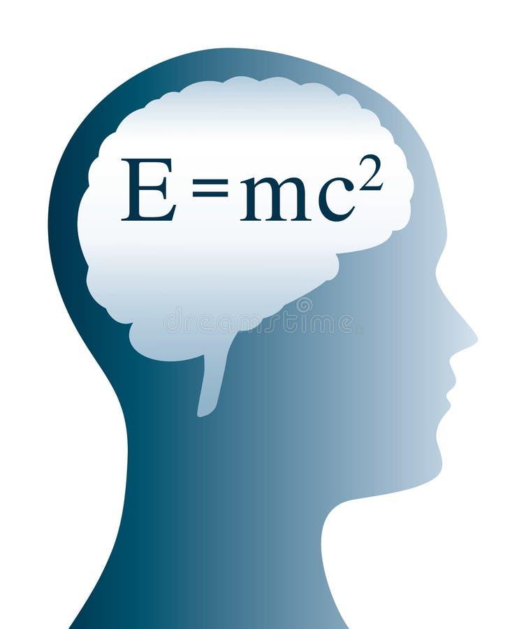 De formule van E=mc2einstein in hersenen en hoofdsilhouet royalty-vrije illustratie