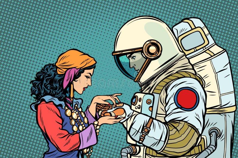 De fortuinteller, en een astronaut Handlijnkunde met de hand stock illustratie