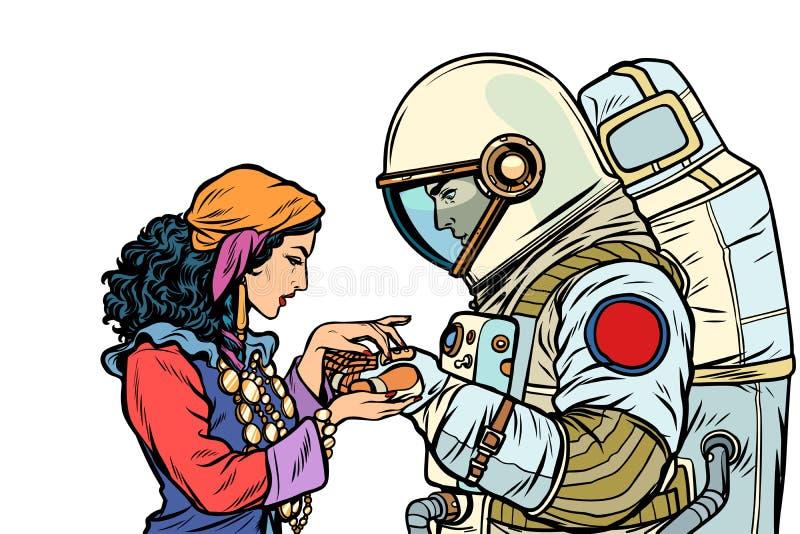 De fortuinteller, en een astronaut Isoleer op witte achtergrond vector illustratie