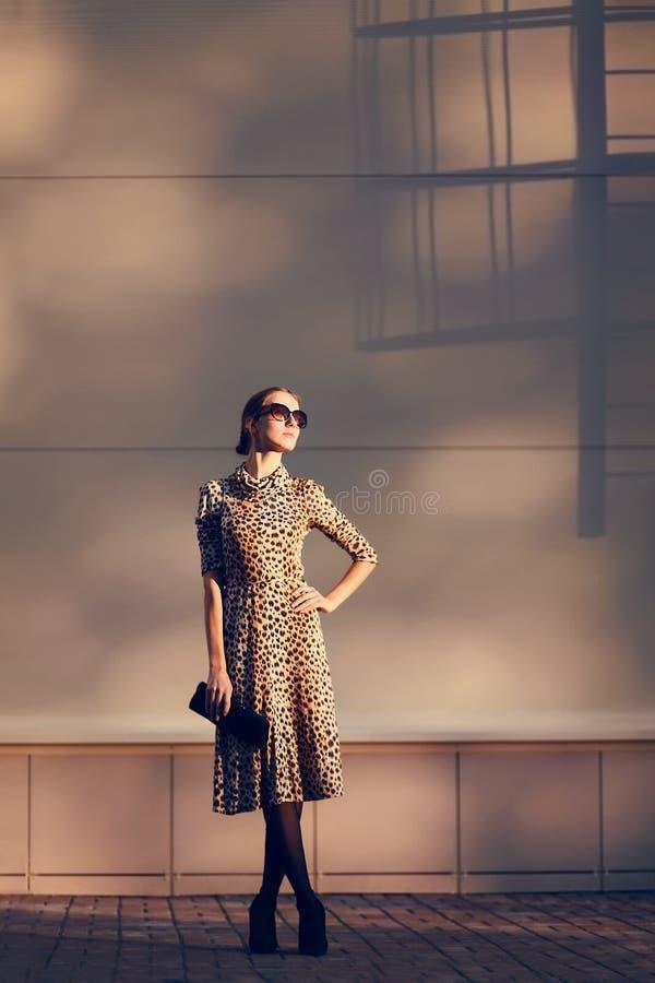 De foto elegante mooie vrouw van de straatmanier in een luipaardkleding royalty-vrije stock fotografie