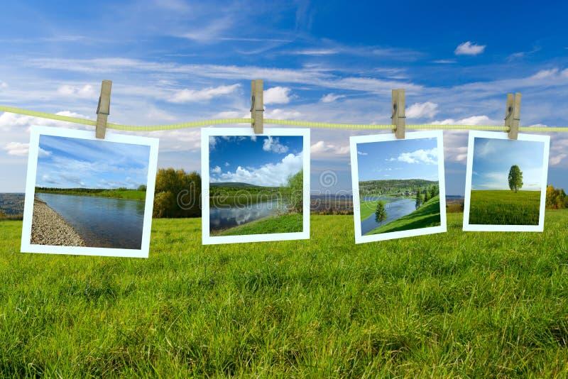 De foto's die van het landschap op een drooglijn hangen royalty-vrije illustratie