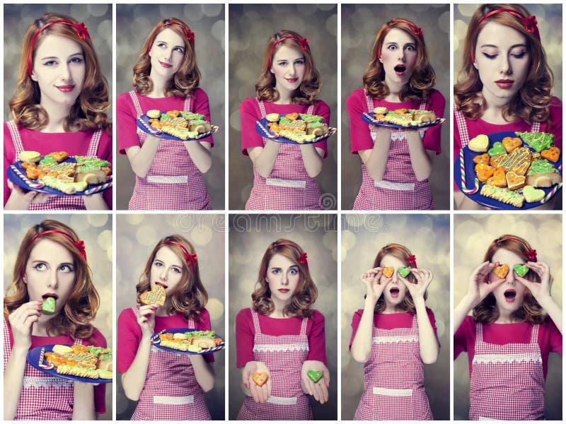 De foto's van de collage - de vrouwen van de Roodharige met koekjes stock foto