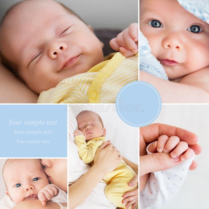 De foto's van de collage pasgeboren baby stock fotografie