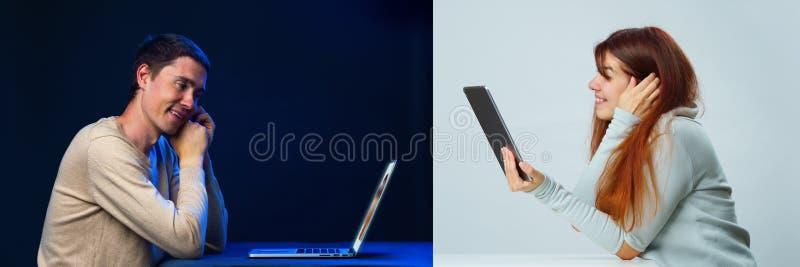 De foto's van mannen en vrouwen communiceren online met elkaar door laptop en een tablet royalty-vrije stock foto