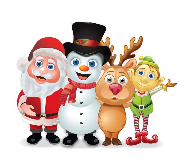 De Foto van de Groep van de kerstman vector illustratie