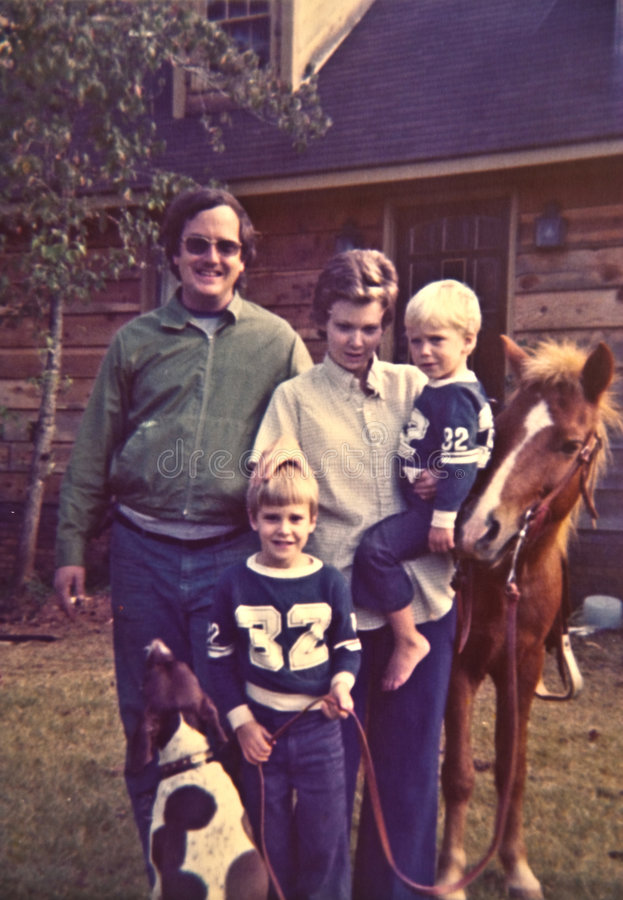 de Foto van de jaren '70Familie royalty-vrije stock foto