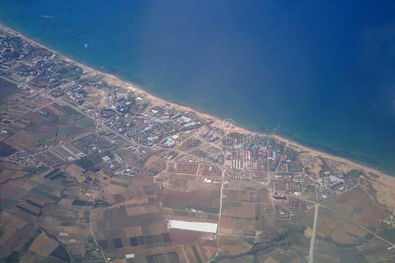 De foto van de lucht van stad. stock afbeelding
