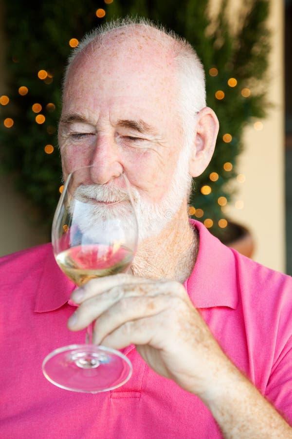 De Foto van de voorraad van het Proeven van de Wijn - Hogere Mens royalty-vrije stock foto's