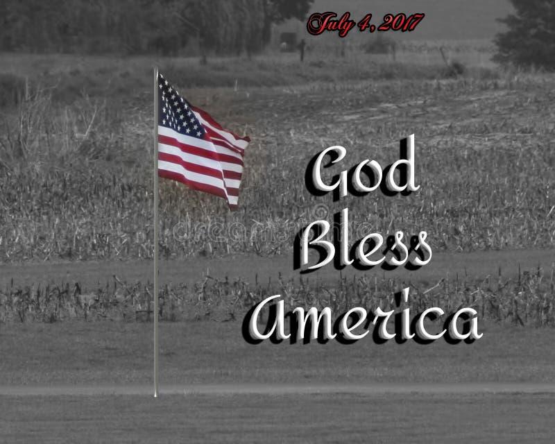 De foto van een gekleurde vlag met een zwart-witte die achtergrond en de woorden` God zegenen Amerika ` samen met datum wordt toe royalty-vrije illustratie