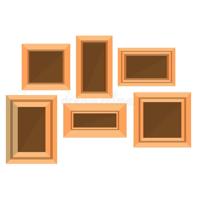 De foto van het achtergrond kader houten vectorbeeld geïsoleerd ontwerp leeg stock illustratie