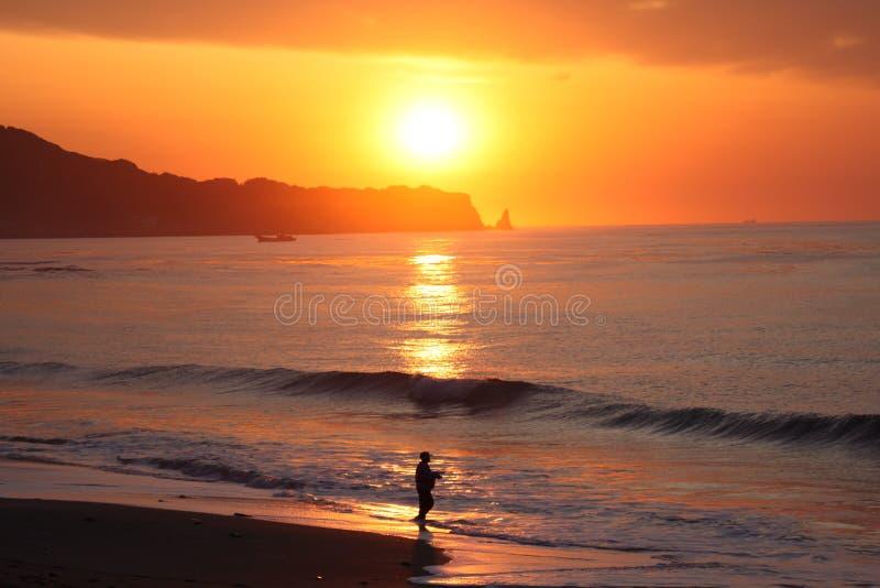De Foto van het de Zonsopgangstrand van Japan in Hebara Chiba Japan stock fotografie