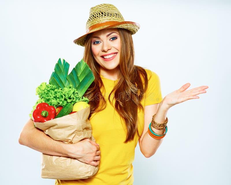 De foto van het dieetconcept met hopeloosheidvrouw van veganistvoedsel stock afbeelding