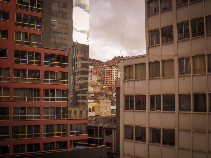 De foto van La Paz Bolivia Downtown van de Historische Hoofdstad stock afbeelding